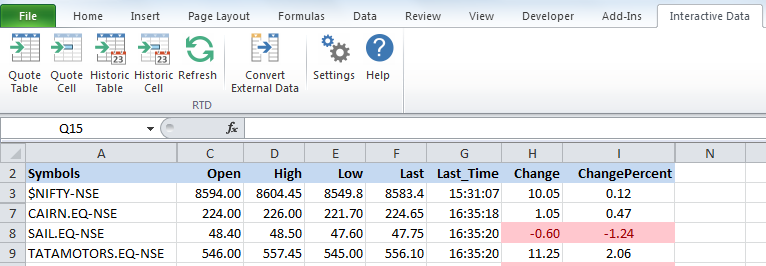 Streaming data in Excel using eSignal's QLink